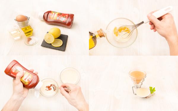 Salsa mayonesa y salsa rosa con aceite de oliva