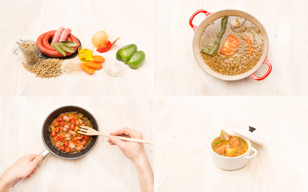 Lentejas con butifarra, chistorra y refrito de hortalizas