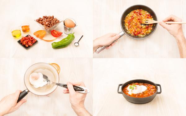 Alubias pintas extras con hortalizas y huevo escalfado