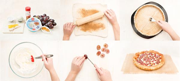 Tarta de mascarpone y uvas