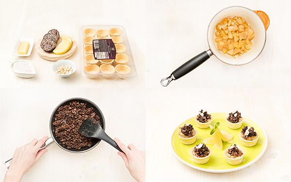 Tartaleta de morcilla y manzana