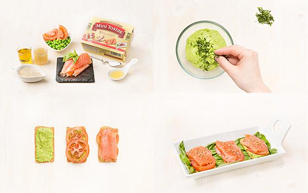 Tosta de puré de guisantes con salmón ahumado