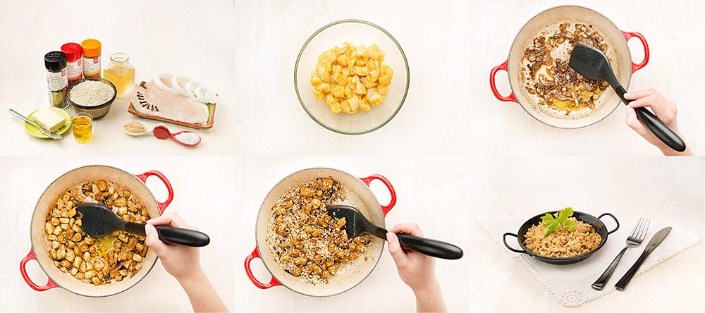 Arroz especiado con pollo, curry y cebolla