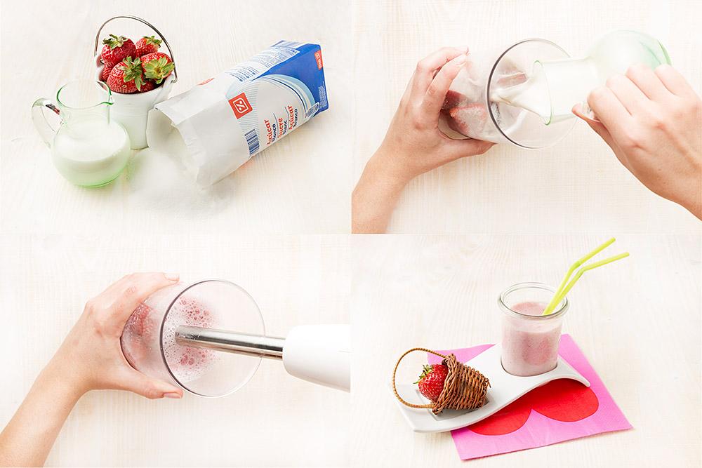 Batido de leche y fresas