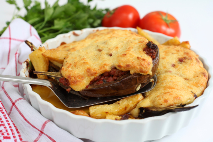 Berenjenas rellenas de carne y verduras