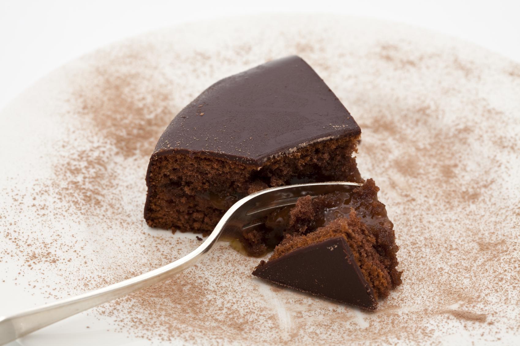 Bizcocho de chocolate por encima