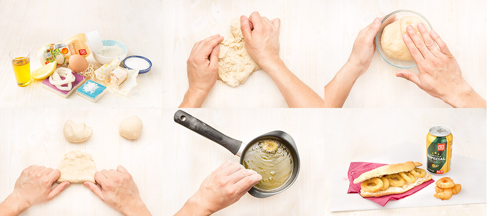 Bocadillo de calamares con el pan casero