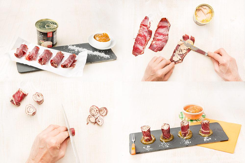 Bombones de cecina y foie gras