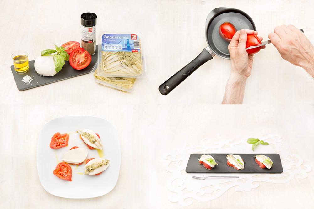 Boquerones en vinagre con tomates y mozzarella