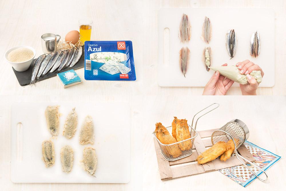Boquerones fritos con queso
