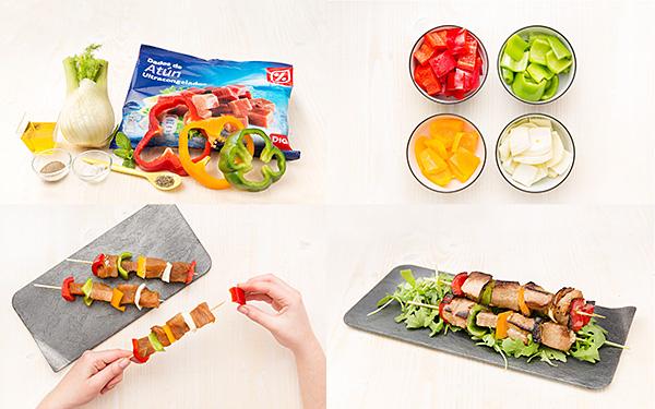 Brocheta de atún y verduras con hinojo