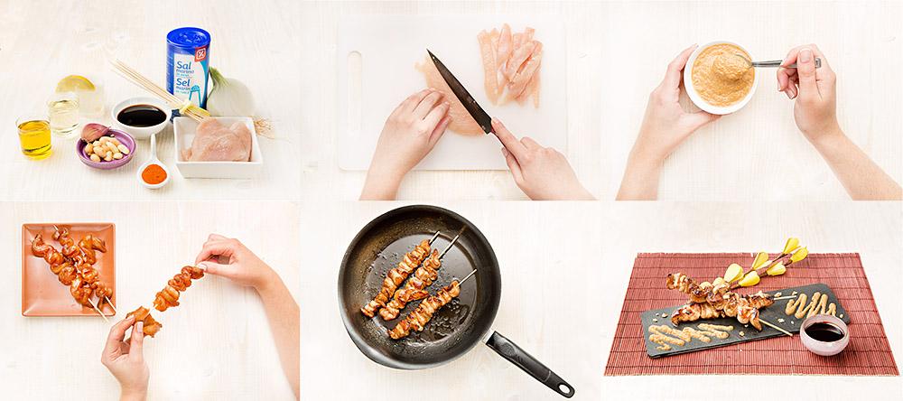 Brochetas de pollo con salsa satay