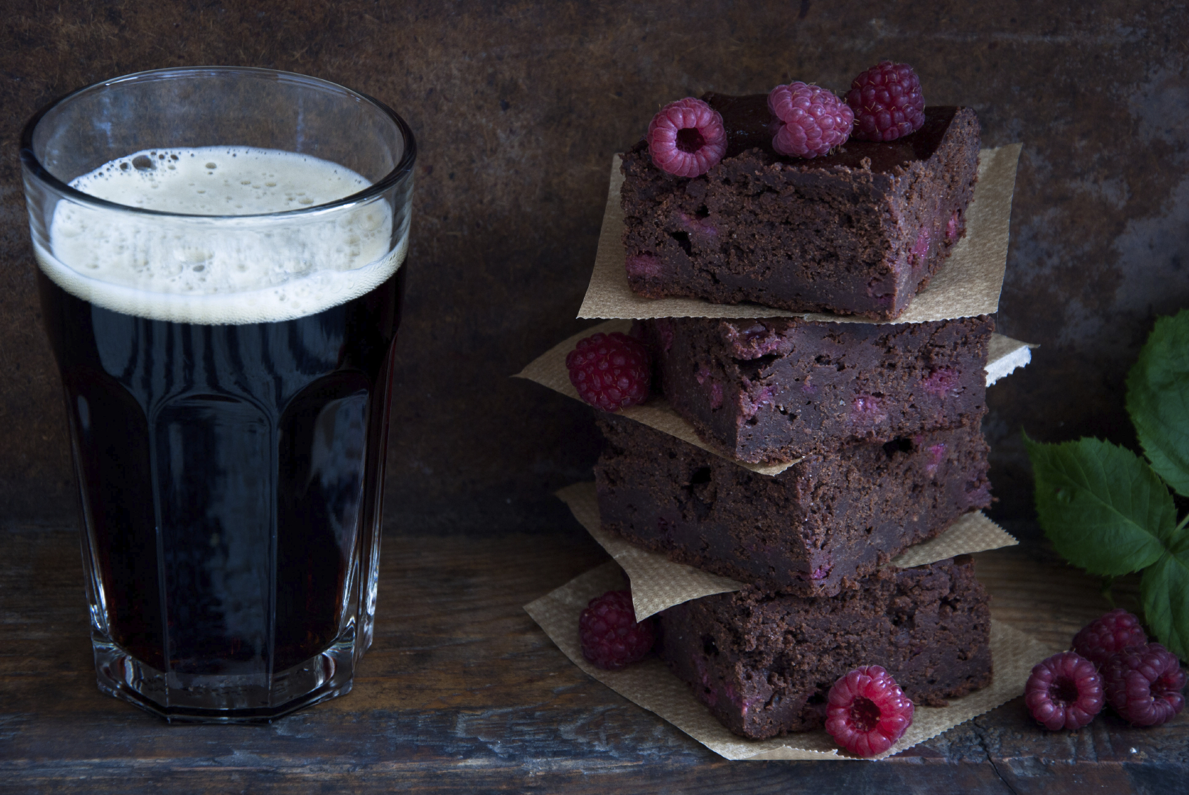 Brownie con cerveza negra