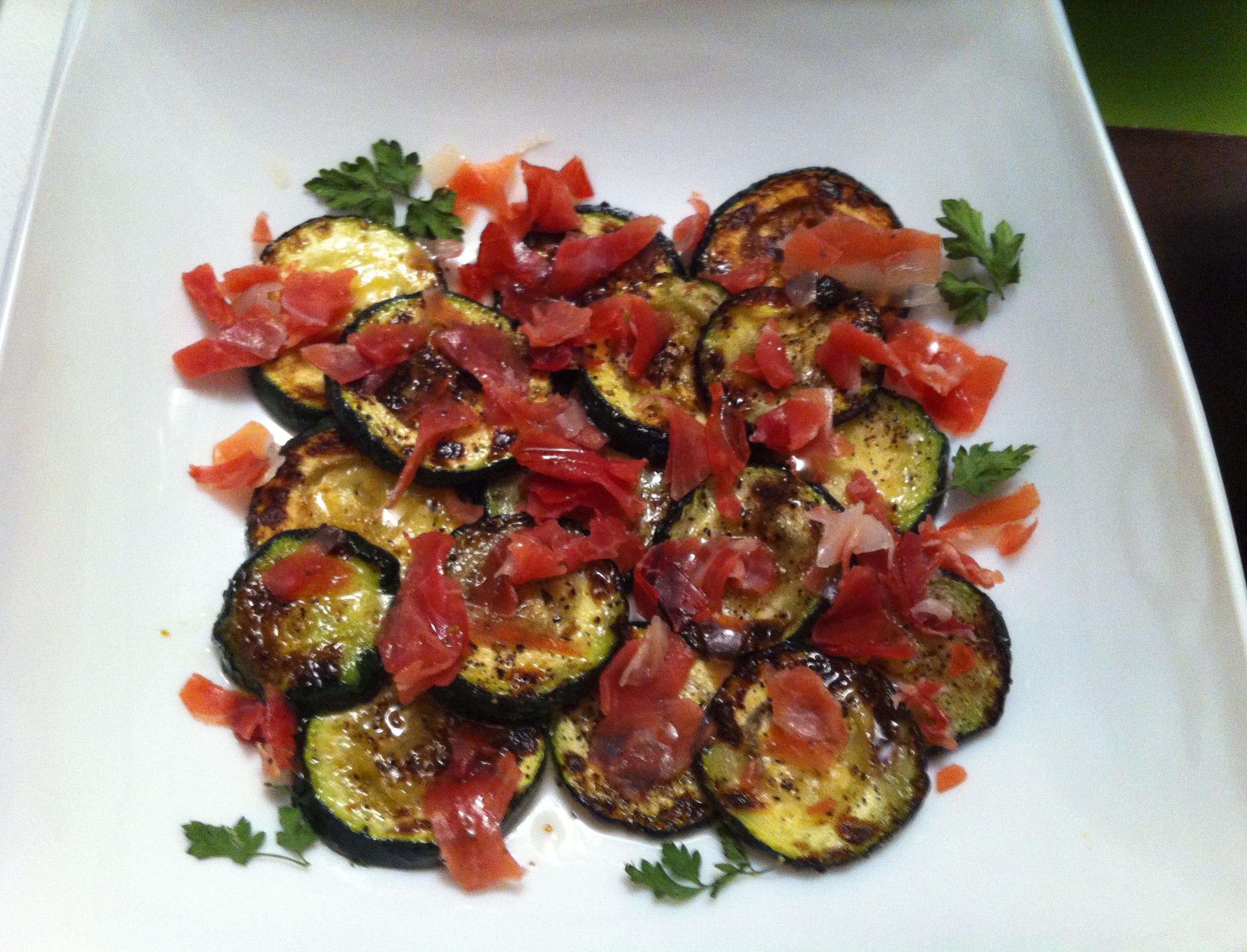Calabacines a la plancha con salsa agridulce
