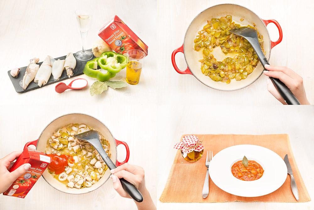 Calamares en salsa de tomate