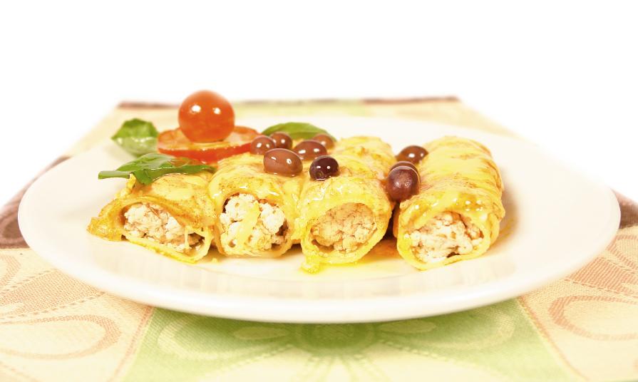 Canelones de pollo, tomate y bechamel