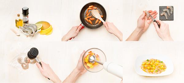 Carpaccio de langostinos con vinagreta de mango