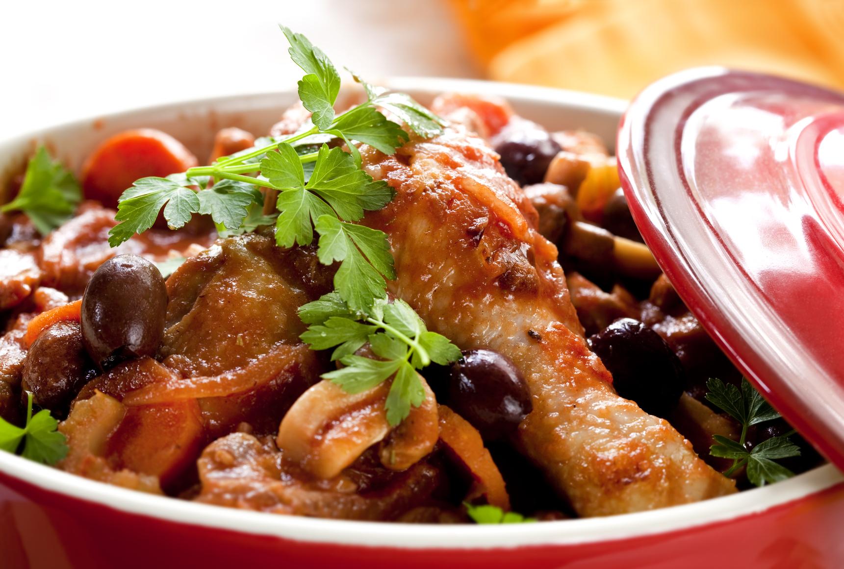 Cazuela de pollo con aceitunas