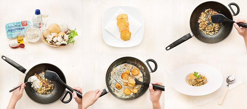 Cazuela de patatas, almejas y gulas