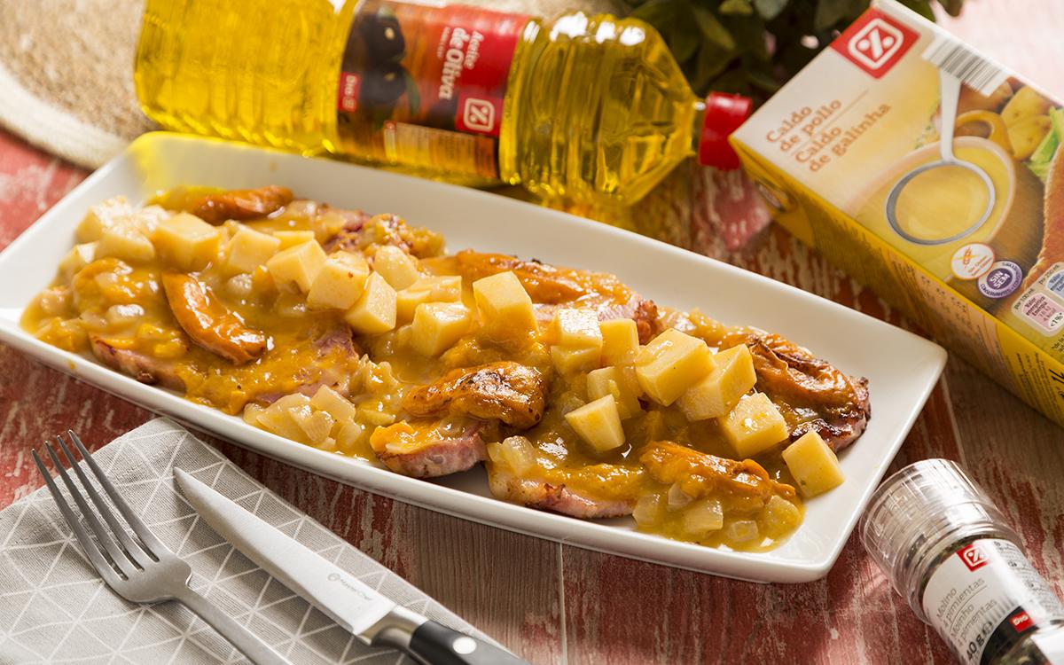 Chuletas de Sajonia con salsa de albaricoques