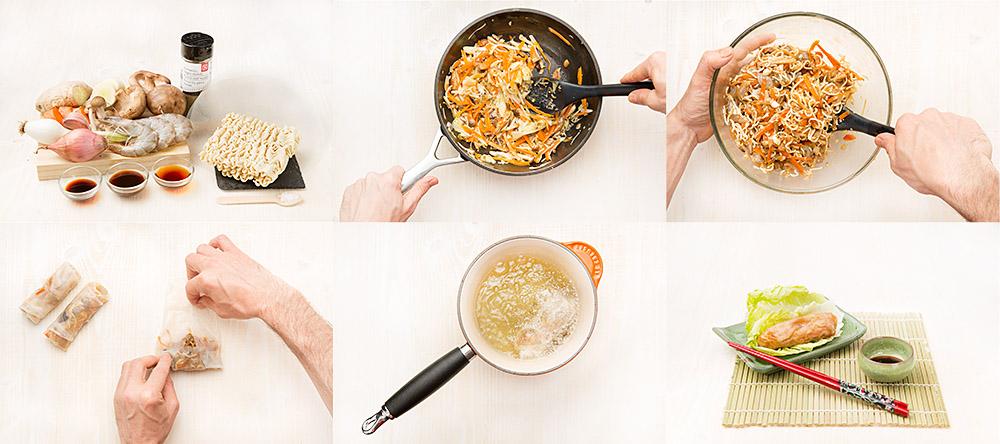 Chun bing (rollitos de vegetales y gambas)