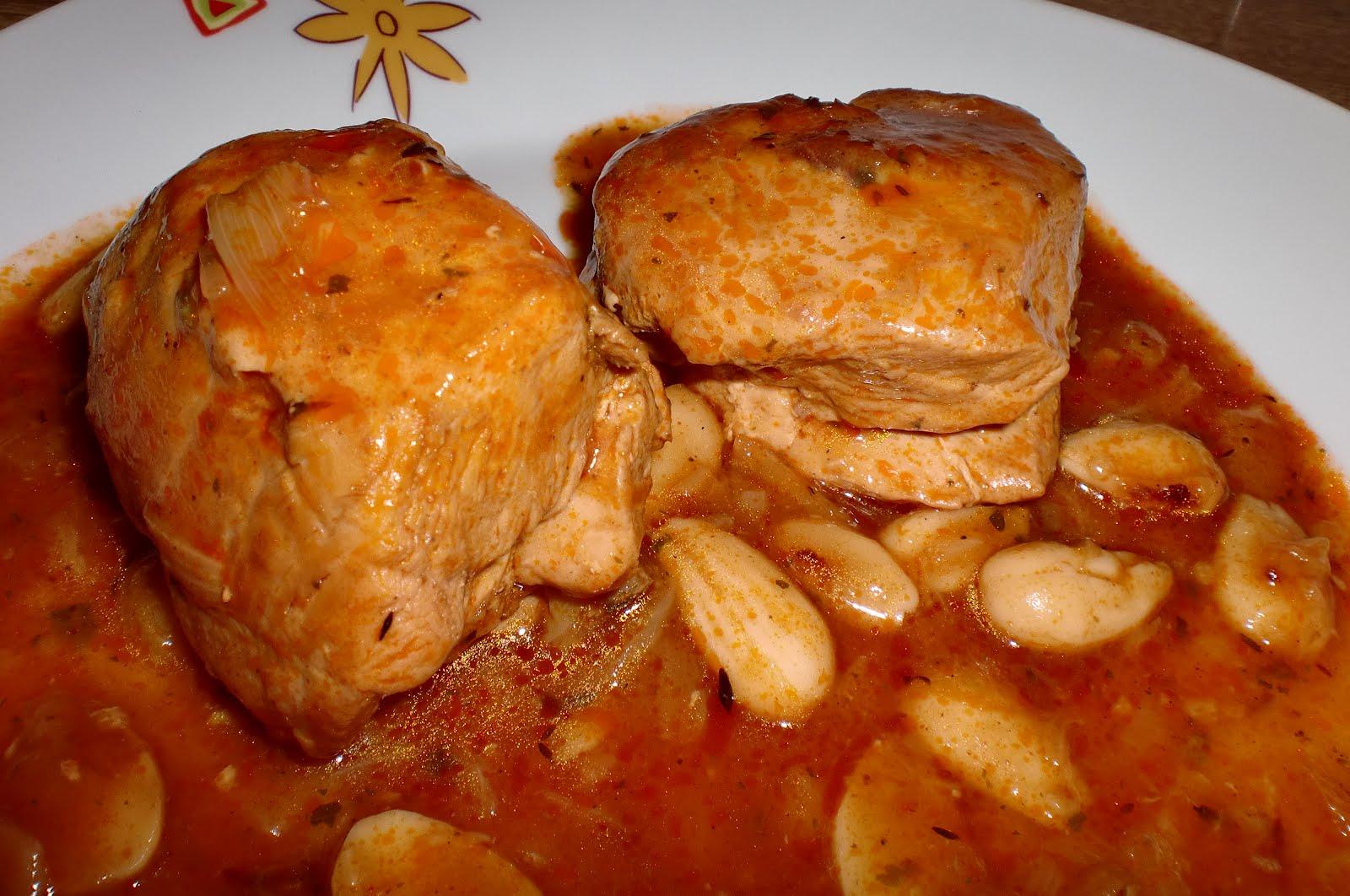Pollo con salsas de almendras