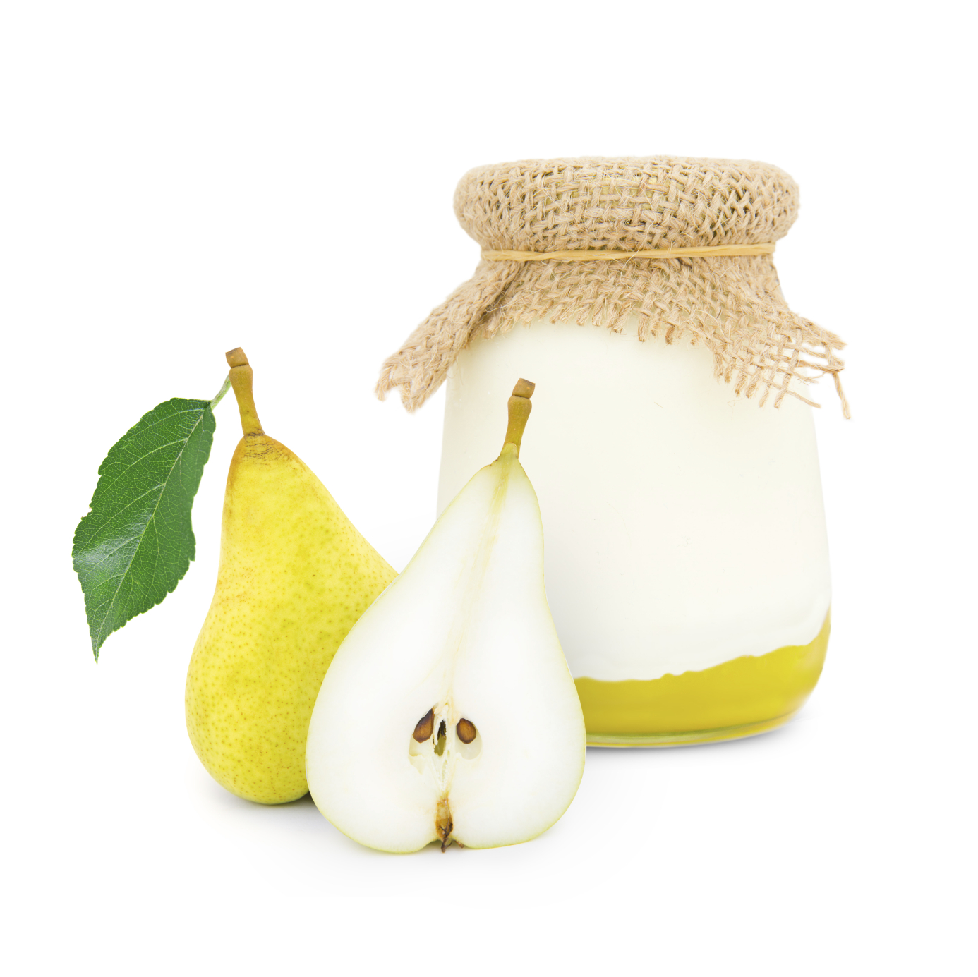 Copa de compota de pera y mousse de yogur con limón