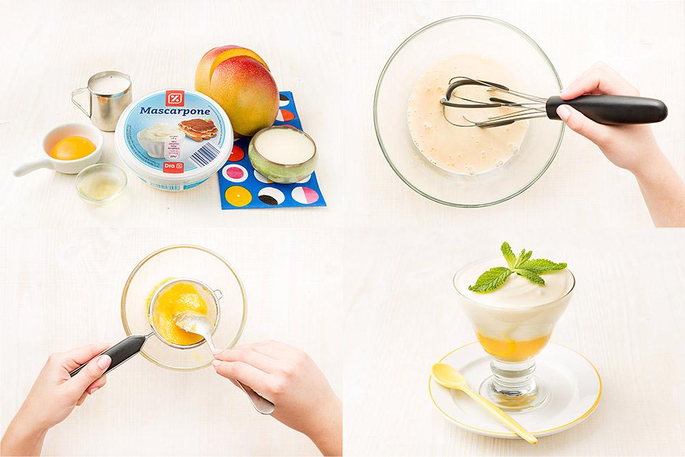 Copa de mascarpone con mango