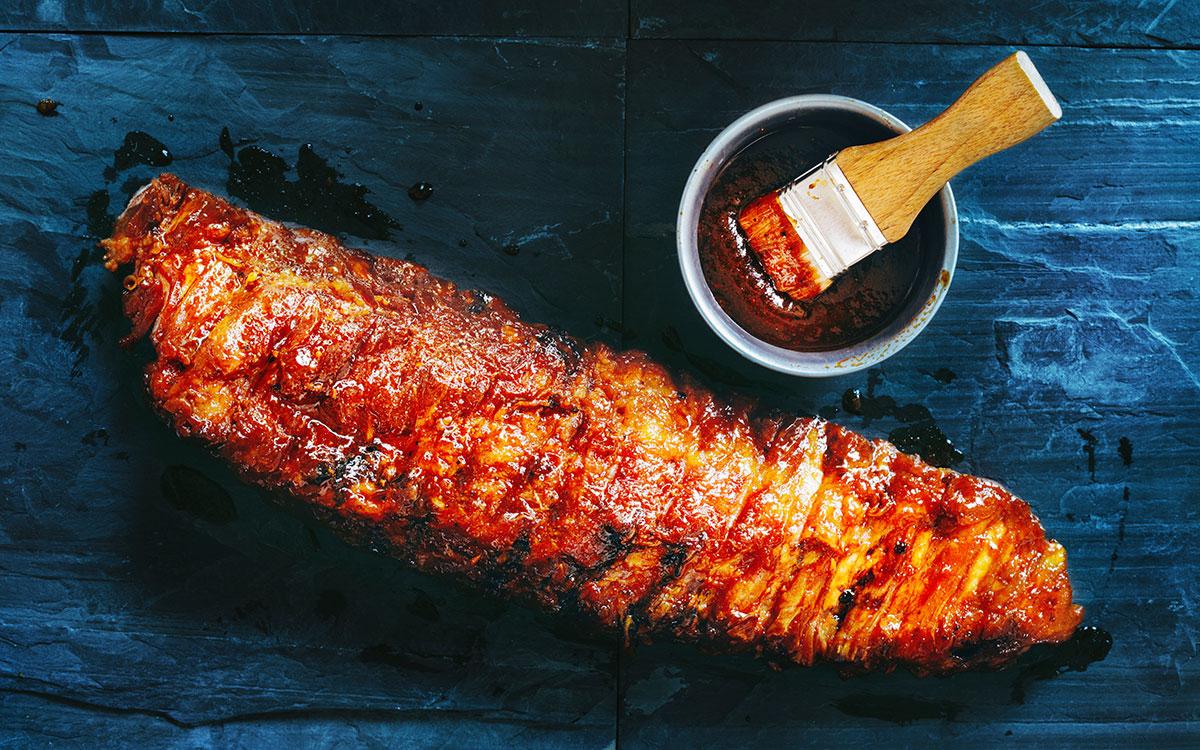 Costillas de cerdo con miel y mostaza