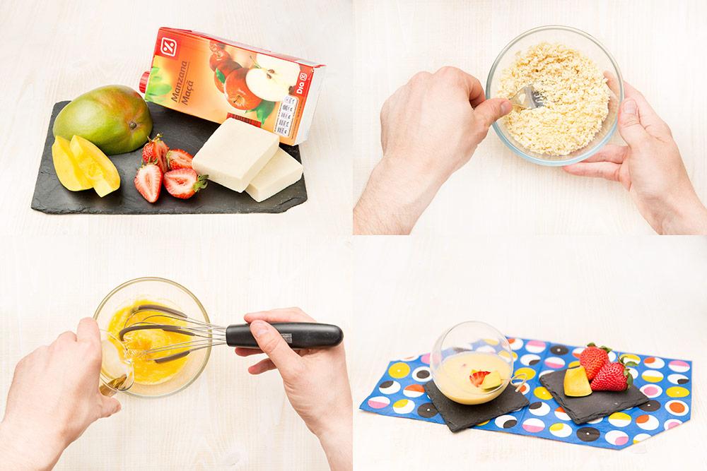 Crema de mango y fresas para diabéticos