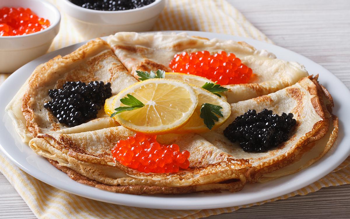 Crepes con caviar