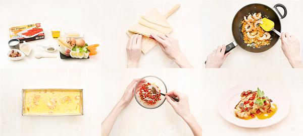 Cuajado de espárragos blancos y salsa de piquillos
