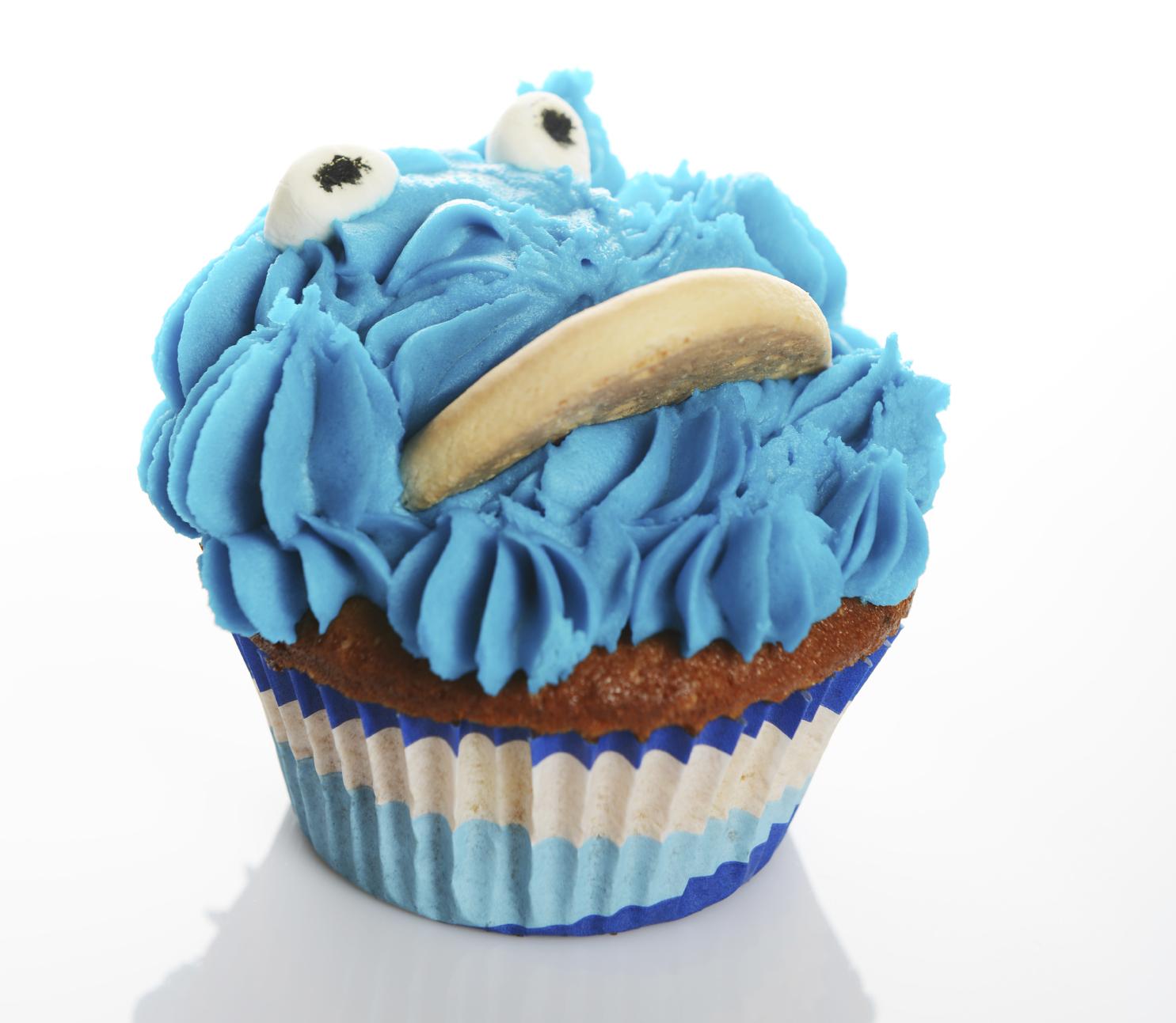 Cupcake decoradas con el monstruo de las galletas