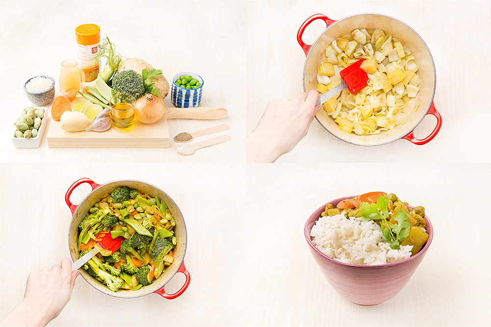 Curry amarillo de vegetales primaverales