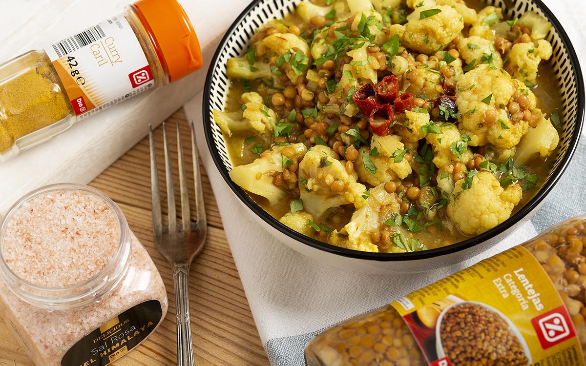 Curry de lentejas y coliflor