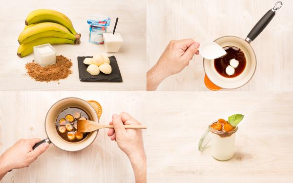 Vasito de plátano caramelizado con yogur griego