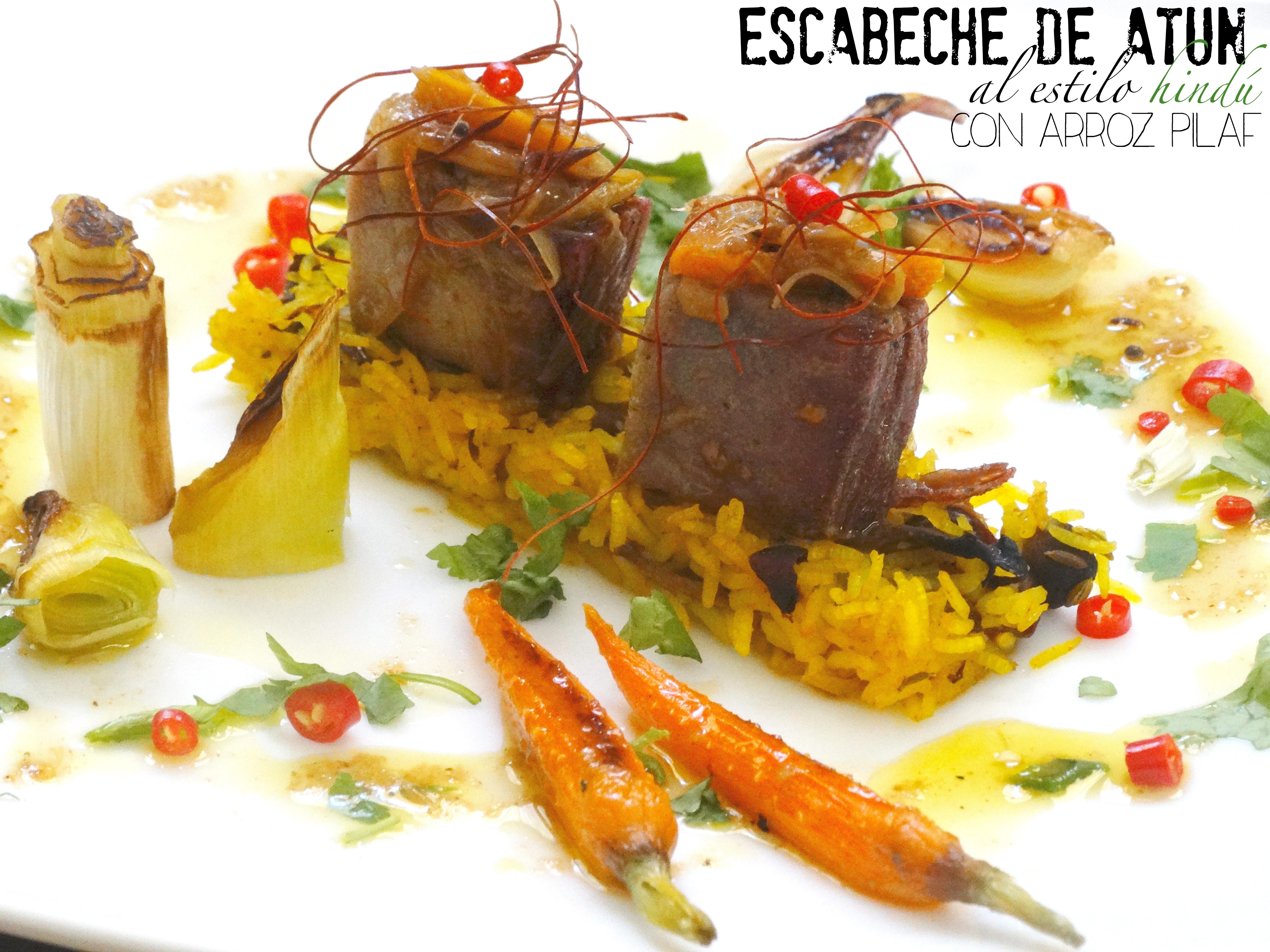 Escabeche de atún al estilo hindú con arroz pilaf