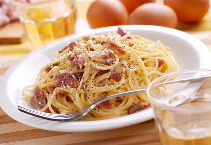 Espaguetis con auténtica salsa carbonara