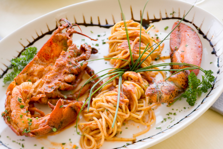 Espaguetis con langosta