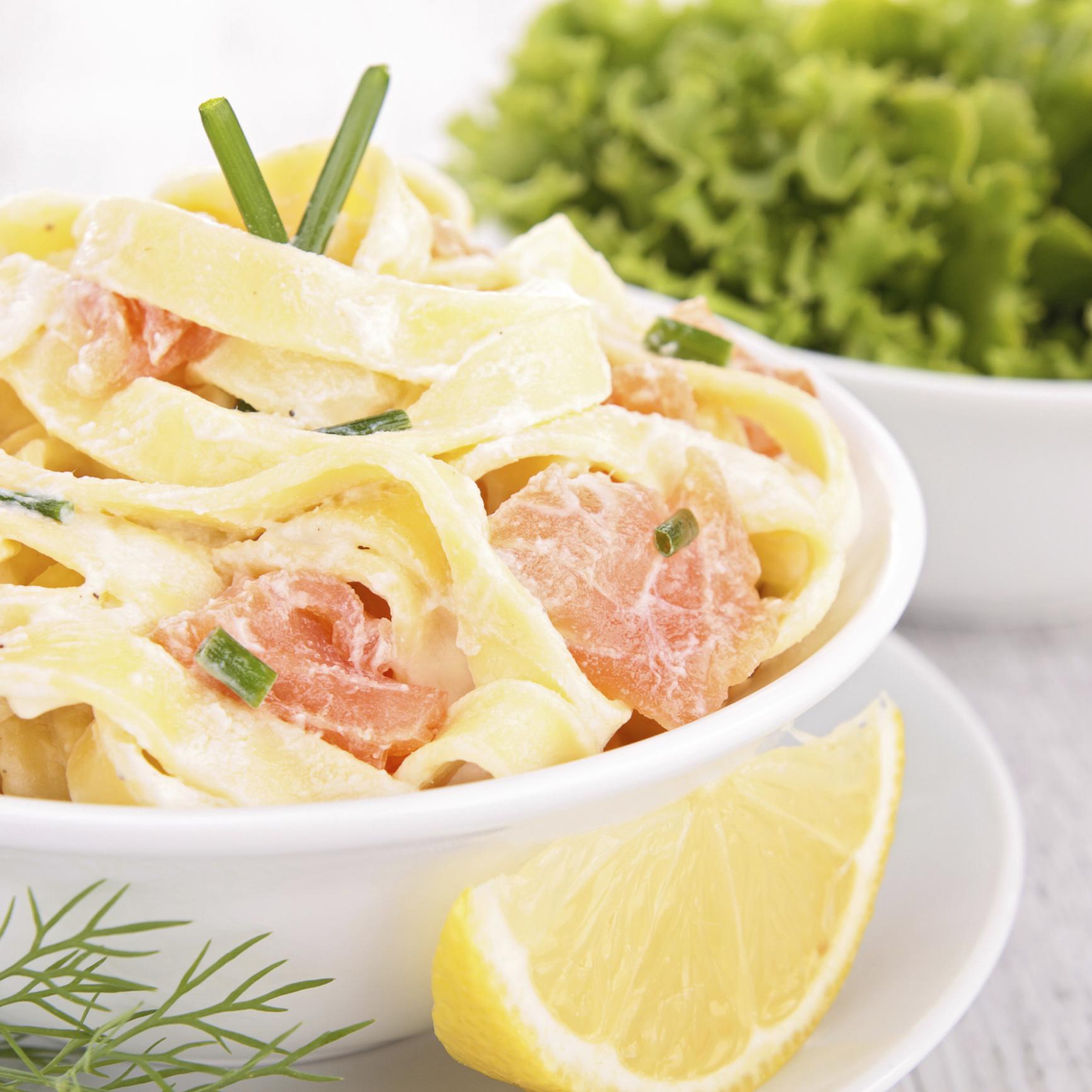 Pasta con crema de salmón