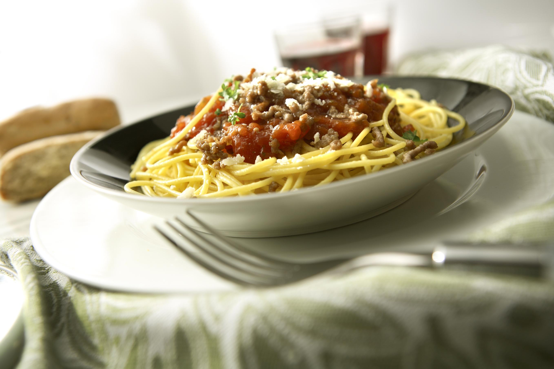 Espaguetis a la boloñesa con salsa inglesa