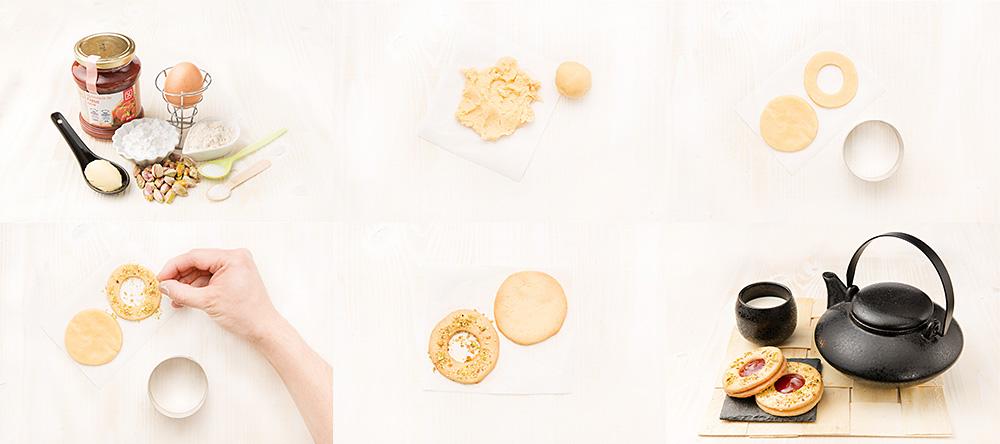Galletas de frambuesa y pistacho