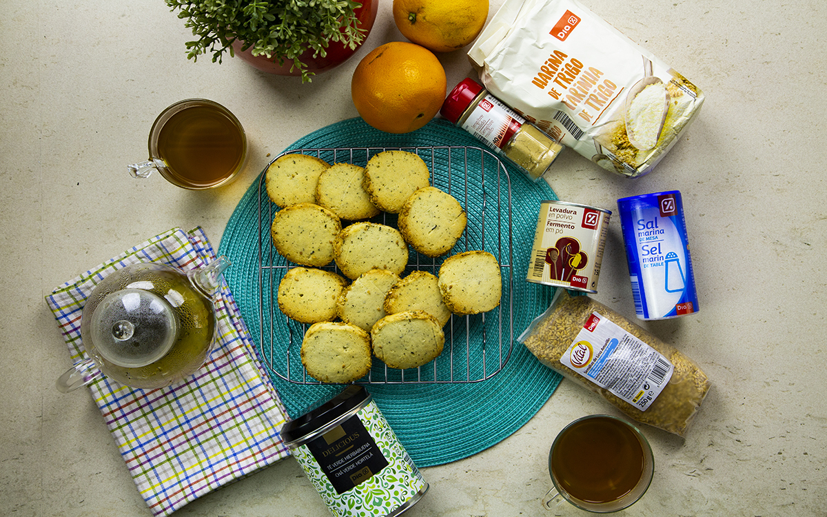 Cookies de té verde, sésamo y jengibre.
