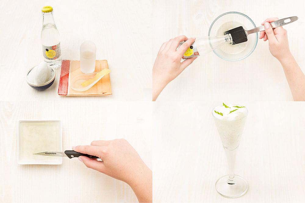 Gelatina de gin tonic con sorbete de limón