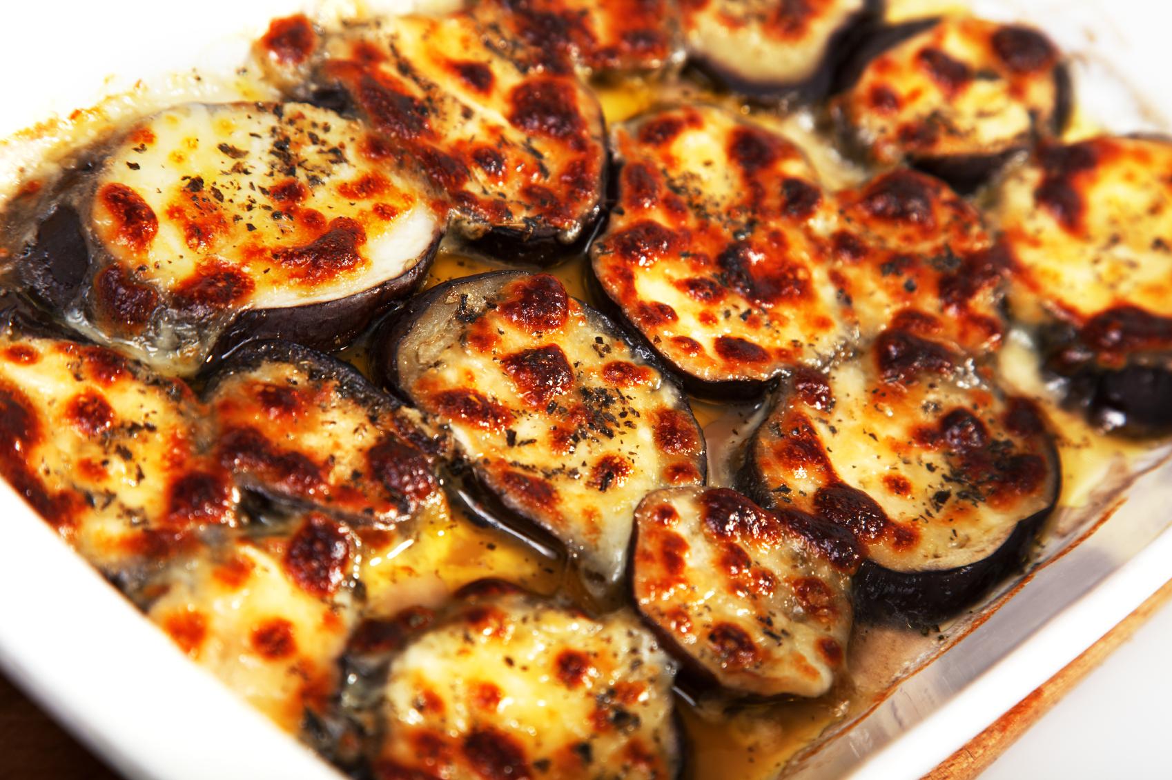 Gratinado de berenjenas con queso de Mahón