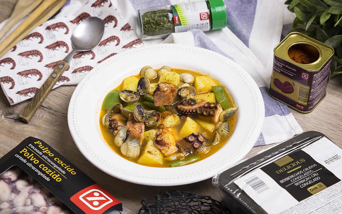 Guiso de pulpo y berberechos con patatas