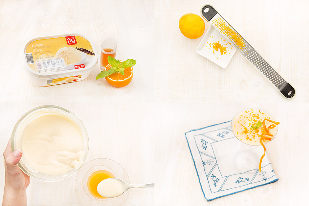 Helado de vainilla con naranja