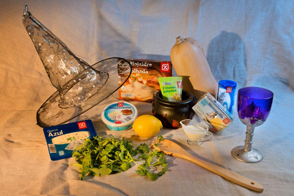 Tarta salada de calabaza, queso y piñones