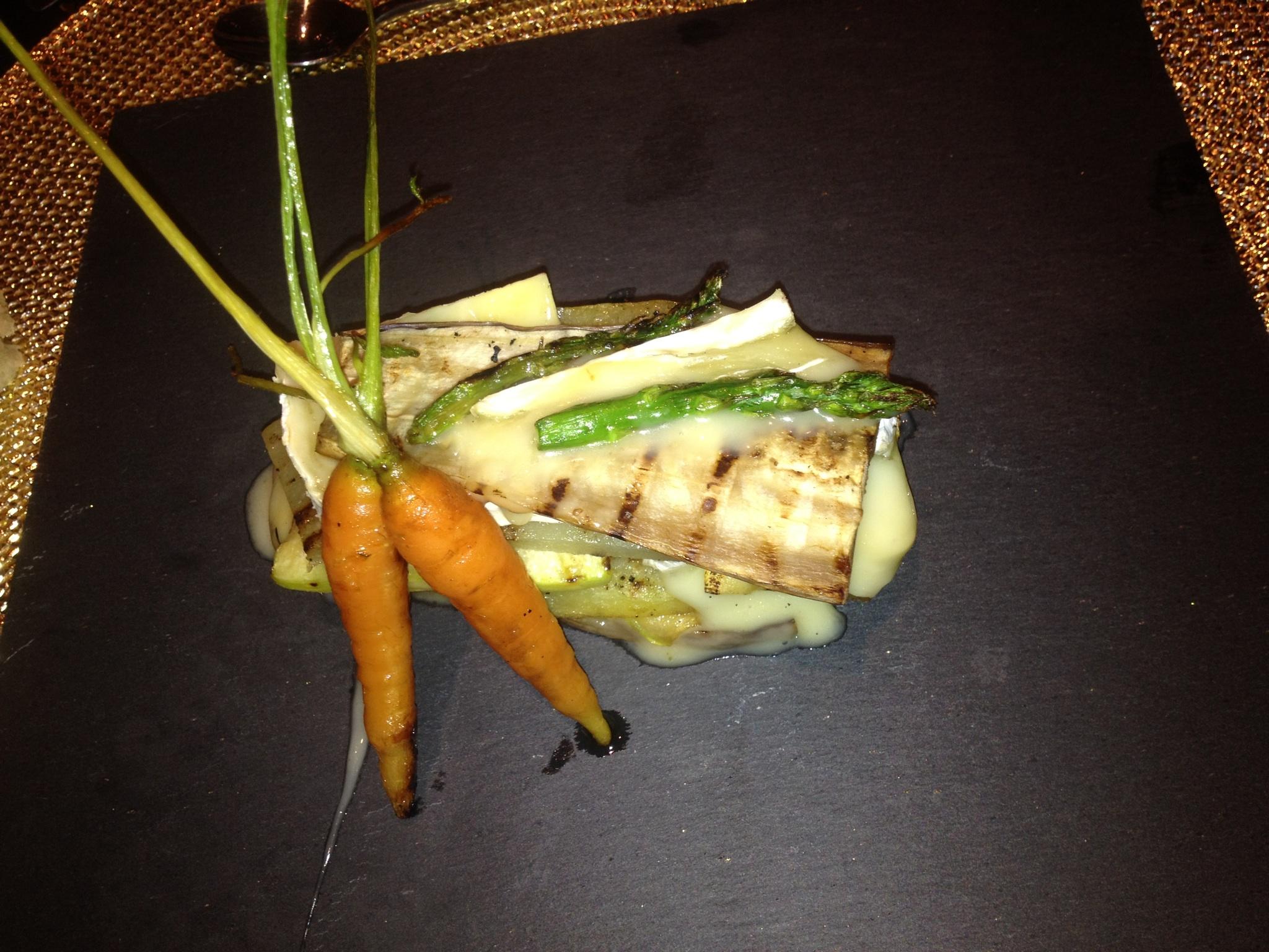 Lasaña de verduras con brie