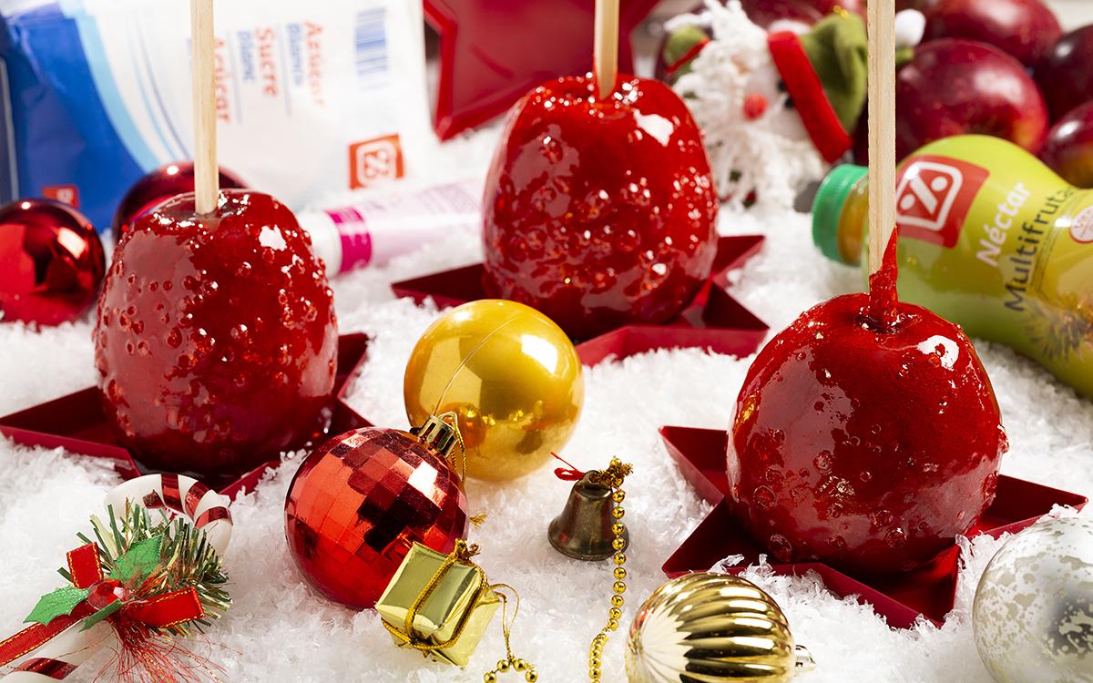 Manzanas de caramelo para el árbol